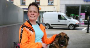 Jackie McBrearty and her guide dog  Rhum  in Sligo. Photograph: Brian Farrell