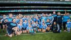 Dublin celebrate with The Brendan Martin Cup after beating Mayo. Photograph: Inpho