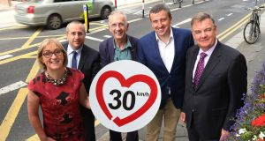 Moyagh Murdock, chief executive of the RSA with Antonio Avenoso, director, European Transport Safety Council, Rod King, founder and campaign director of UK's 20's Plenty for Us, Dermot Stevenson, senior executive engineer, Dublin City Council and Bryan Dobson, MC of the Road Safety Authority's annual academic road safety lecture on the 30km/h speed limit, held in Dublin. Photograph: Robbie Reynolds
