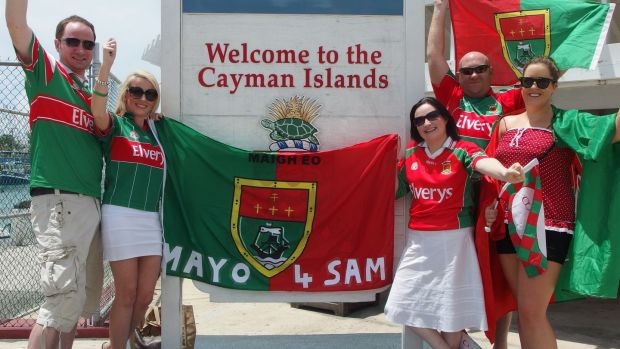 Lainey Broderick (second from left) with fellow Mayo supporters in the Cayman Islands.