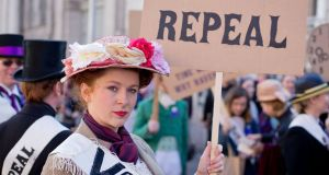 Demonstrators at the March for Choice in Dublin last Saturday. Photograph: Tom Honan/PA Wire