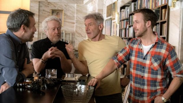 Blade Runner sequel: director Denis Villeneuve and executive producer Ridley Scott with Harrison Ford and Ryan Gosling during the making of Blade Runner 2049
