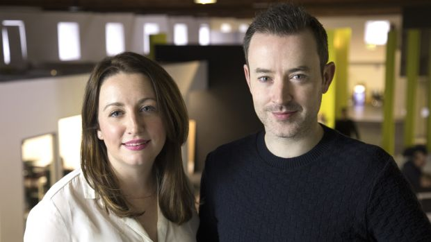 Outgoing Maximum Media group chief executive Katie Molony with broadcast director and 'JOE show' presenter Paddy McKenna.
