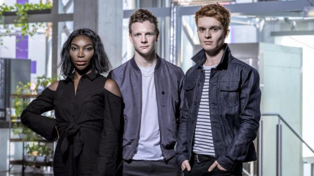 Actors Michaela Coel, Patrick Gibson and Tom Glynn-Carney