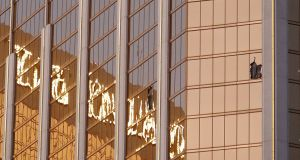 Broken windows  a high floor in the Mandalay Bay hotel facing the scene of the mass shooting at the Route 91 Harvest festival on Las Vegas Boulevard in Las Vegas, Nevada. Photograph: Paul Buck/EPA
