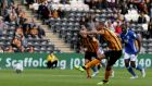 David Meyler of Hull City scores from the penalty spot against Birmingham City.  Photograph: Nigel Roddis/Getty Images