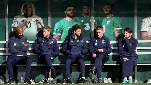 Darren Randolph, Eunan O'Kane, Shane Long, Johnny Hayes and Harry Arter watch Monday's training session. Photograph: Ryan Byrne/Inpho