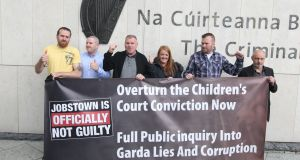 Paul Kiernan, Keith Preston, Declan Kane, Antoinette Kane,Tommy Kelly and Peter Herbert at Dublin Circuit Criminal Court after the charges against them  were dropped. Photograph: Collins Courts