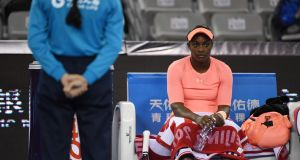 Sloane Stephens (US)  waiting between games during her women's singles match against Christina McHale (US)  at the China Open   in Beijing. Photograph:  Getty Images