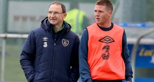 Republic of Ireland manager with Everton midfielder James McCarthy. Photograph: Donall Farmer/Inpho