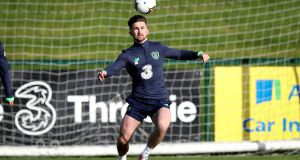 Sean Maguire during Ireland training ahead of the World Cup qualifiers against Moldova and Wales. Photo: Ryan Byrne/Inpho