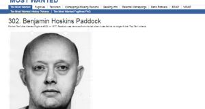 Undated handout   issued by the FBI of an archival web  page from their most wanted list, of Benjamin Hoskins Paddock,  father of Stephen Paddock. Image:  FBI/PA Wire