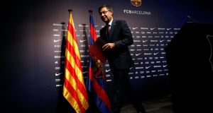 FC Barcelona President Josep Maria Bartomeu during a news conference at Camp Nou stadium. Photograph: Reuters