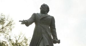 A statue of Eduardo Casey, the Irish descendant who founded the Argentine city of Venado Tuerto