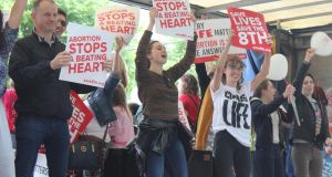 UCD student union president Katie Ascough (centre) at Rally for Life this July. Photograph: Jack Power
