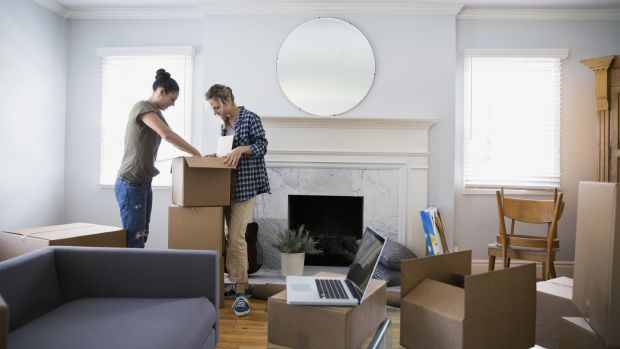 A happy housemoving couple: simmering tension and flare-ups not pictured. Photograph: Getty Images