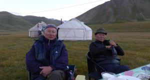 Melis and Arslanbek Chormonov at the Bosogu yurt camp at Köl-Suu. The brothers want to attract more travellers from Europe and beyond to Kyrgyzstan. Photograph: Joseph O'Connor