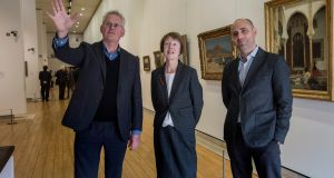Sean Rainbird, left, director of the National Gallery of Ireland with curators Maire Bourke and Brendan Rooney at the announcement of upcoming exhibitions. Photograph: Brenda Fitzsimons