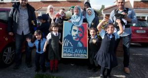 Family and  friends celebrate  Ibrahim Halawa's acquittal  last month at the Halawa family home in Firhouse, Dublin. Photograph: Gareth Chaney/Collins