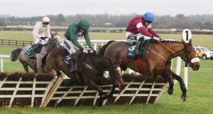 Death Duty (right) winning the novice hurdle at Naas earlier this year. Photograph: Lorraine O'Sullivan/Inpho