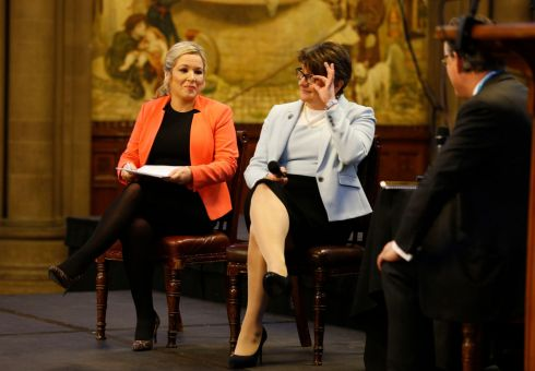 ULSTER FRY: DUP leader Arlene Foster and Sinn Fein's Northern Ireland leader Michelle O'Neill  attend the Ulster fry breakfast at Manchester Town Hall during the Conservative Party Conference in Manchester. Photograph: Owen Humphreys/PA Wire
