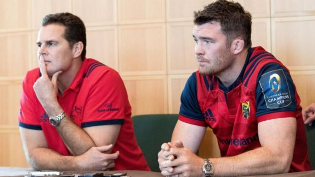 "Rassie Erasmus with Peter O'Mahony. ""Change happens and the new guy's going to come in and do his thing, and we're all going to row in behind that."" Photograph: Gary Carr/Inpho"