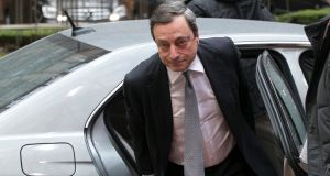 European Central Bank  president Mario Draghi: said Greek banks remain saddled with soured loans, and regulators may need to stress-test them earlier in 2018 than originally planned. Photograph: Yves Herman/Reuters