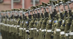 Members of the Defence Forces taking part in a 2013 State engagement. Photograph: Alan Betson