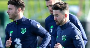Sean Maguire and Scott Hogan during Ireland training on Tuesday ahead of the final two World Cup qualifiers with Moldova and Wales. Photo: Gary Carr/Inpho