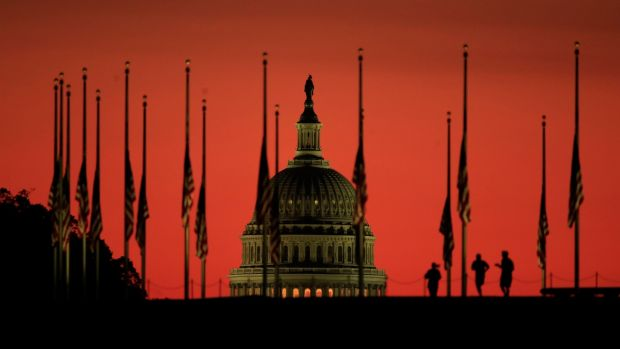 Mandalay Bay shooting: flags fly at half-mast in front of the US Capitol Building, in Washington. Photograph: Manuel Balce Ceneta/AP Photo