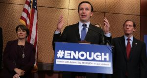 Senator Chris Murphy (Democrat) holds a news conference in Washington to demand that Congress take action to stop gun violence after the Las Vegas shooting. Photogrpah: Alex Wong/Getty Images