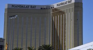The damaged windows on the 32nd floor room that was used by Stephen Paddock in the Mandalay Hotel. Photograph: Mark Ralston/AFP/AFP/Getty Images