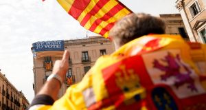 Unionist protestors take part in a demonstration against independence  called by the  far-right  'Platform for Catalonia' party  in front of Barcelona city hall  last month. Photograph: Pau Barrena/AFP/Getty Images