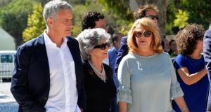 Manchester United manager José Mourinho  is flanked by his mother Maria Julia Santos  and Setubal mayor Maria das Dores Meira  during the inauguration of the Avenue José Mourinho in his home town of Setubal, Portugal on Tuesday. Photograph:  Rui Minderico/EPA