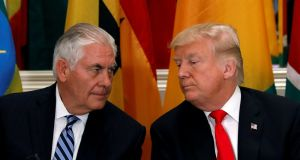 US secretary of state Rex Tillerson  with President Donald Trump last month. Photograph: Kevin Lamarque/Reuters
