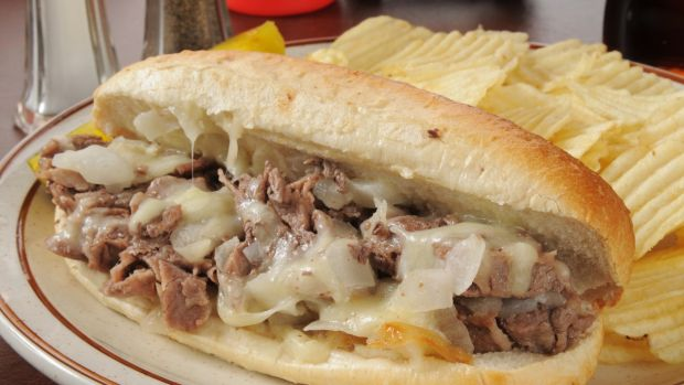 The famous Philly cheese steak sandwich.
