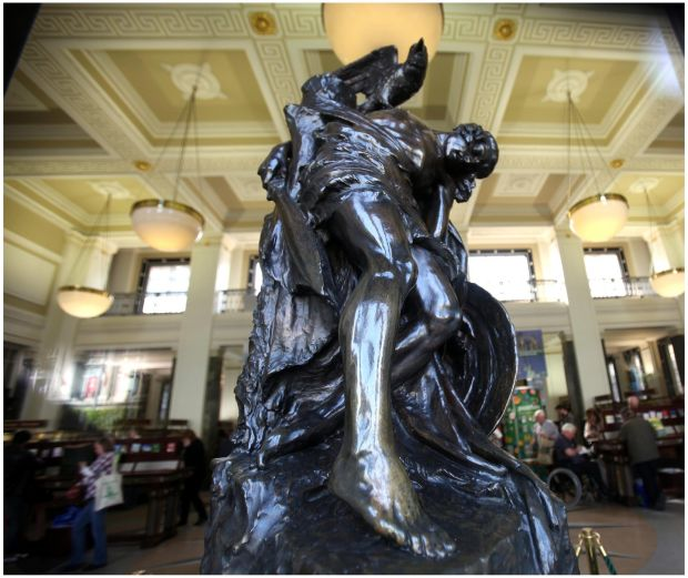The Death of Cúchulainn statue in the GPO. Photograph: Brenda Fitzsimons/The Irish Times