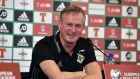 Northern Ireland manager Michael O'Neill talks to the media  at Windsor Park ahead of the World Cup qualifier against Germany on Thursday night. Photograph:  Charles McQuillan/Getty Images