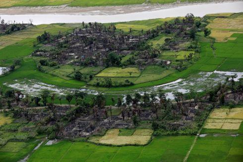 Aerial view of a burned Rohingya village near Maungdaw, north of Rakhine state, Myanmar. Photograph: Soe Zeya Tun  /Reuters