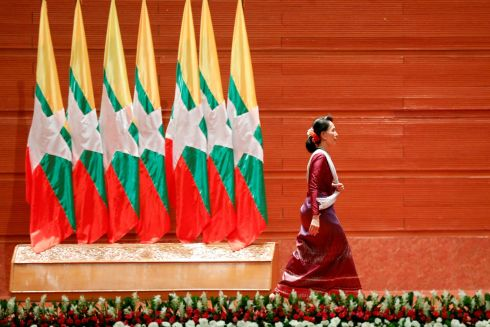 Myanmar State Counselor Aung San Suu Kyi walks off the stage after delivering a speech to the nation over Rakhine and Rohingya situation, in Naypyitaw, Myanmar September 19th.  Photograph: Soe Zeya Tun  /Reuters