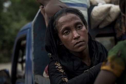 A Rohingya Muslim refugee waits in a truck to reach a refugee camp after she crossed the border from Myanmar, in Teknaf, Bangladesh on October 2nd. Photograph: Fred Dufour / AFP