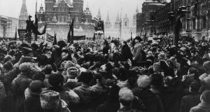 Russian Revolution  October 1917:  Red Square, with Stalin (right) and  Trotsky  on a podium. Photograph: Hulton Getty