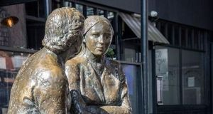Meeting Place statue on Liffey Street, Dublin, which is part of the Talking Statues initiative. Photograph: talkingstatuesdublin.ie
