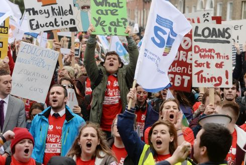 'EDUCATION IS A RIGHT': Thousands of students take part in the USI National demonstration in Dublin city centre. They voiced their opposition to a potential student loan scheme. Photograph: Alan Betson/The Irish Times