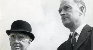 WT  Cosgrave, former President of the Executive Council of the Irish Free State, and his son  Liam Cosgrave (right) at the Phoenix Park races in 1960