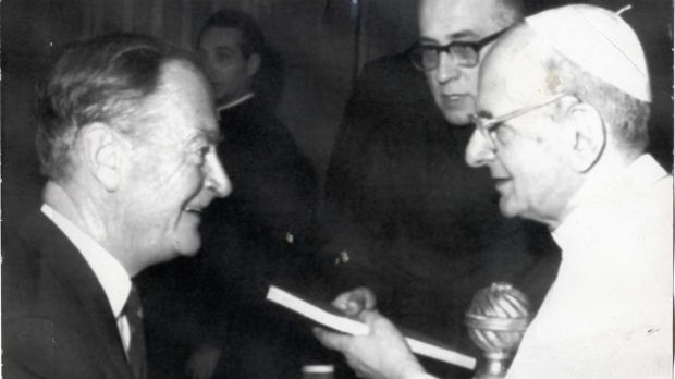 Liam Cosgrave, then Fine Gael leader, meets Pope Paul VI in the Vatican in 1972