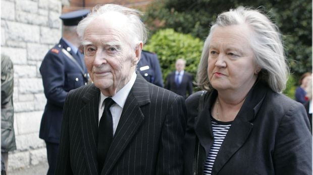 Former taoiseach Liam Cosgrave and his daughter Mary at the State funeral of Dr Garret FitzGerald at the Sacred Heart Church, Donnybrook, Dublin in 2011. Photograph: Dara Mac Dónaill