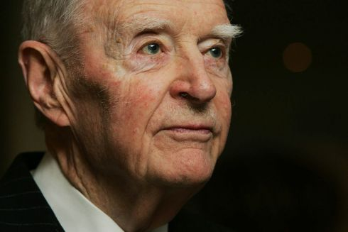A portrait of the former Taoiseach Liam Cosgrave by Cyril Byrne in October 2004.
