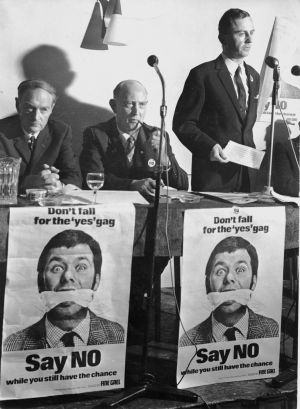 Fine Gael leader Liam Cosgrave at a party rally in the Four Courts Hotel, Dublin, in September 1968 with vice-president Michael O'Higgins and TD Ritchie Ryan. Photograph: Dermot O'Shea/The Irish Times