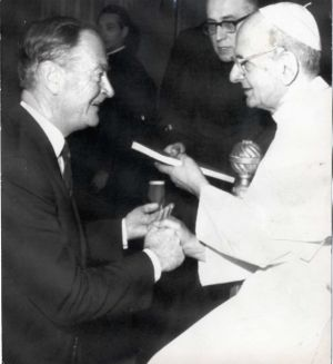 Pope Paul VI shakes hands with Liam Cosgrave, the Fine Gael leader, during a private audience in the Vatican in September 1972.